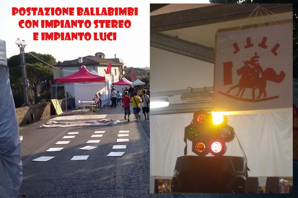 Postazione per Ballabimbi con Impianto stereo e microfonico da 2400 W e Impianto luci per un grande divertimento in tutte le occasioni!!!